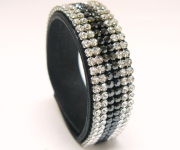 Leder Armband mit Swarovski Elements Steinen - 6-reihig