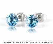 6 mm Ohrstecker mit Swarovski Elements - Aquamarine