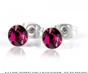 6 mm Ohrstecker mit Swarovski Elements - Fuchsia