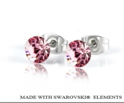 6 mm Ohrstecker mit Swarovski Elements - Light Rose