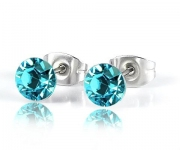 6 mm Ohrstecker mit Swarovski Elements - Light Turquoise
