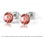 6 mm Ohrstecker mit Swarovski Elements - Rose Peach