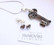 Schmuckset Schlüsselanhänger mit Ohrstecker Silver Night